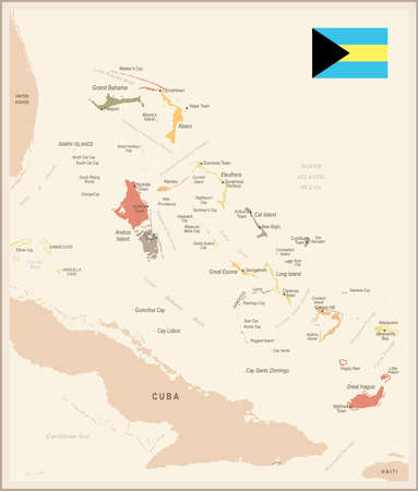 The Bahamas - vintage map and flag - High Detailed Vector Illustration