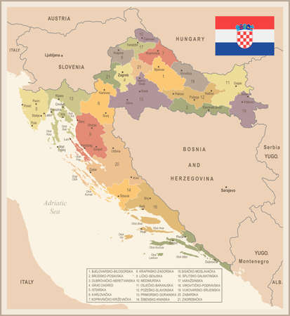 Croatia - vintage map and flag - High Detailed Vector Illustration