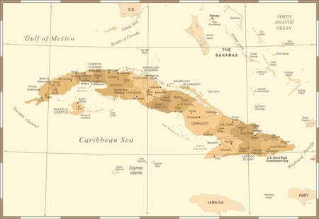 Cuba Map - Vintage High Detailed Vector Illustration