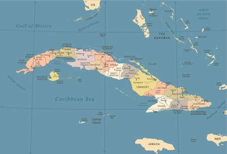 Cuba Map - Vintage High Detailed Vector Illustration