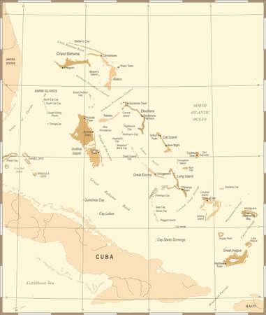 バハマの地図 - ビンテージ高詳細なベクトル図  イラスト・ベクター素材
