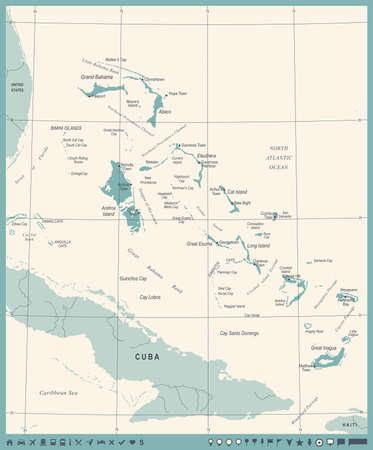 バハマのマップ - ビンテージ高詳細なベクトル イラスト