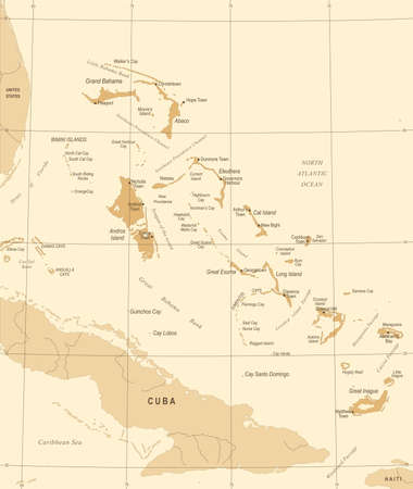The Bahamas Map - Vintage High Detailed Vector Illustration