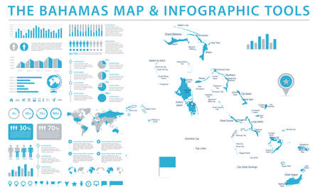 The Bahamas Map - Detailed Info Graphic Vector Illustration