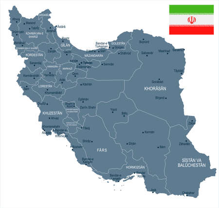 Iran map and flag - High Detailed Vector Illustration