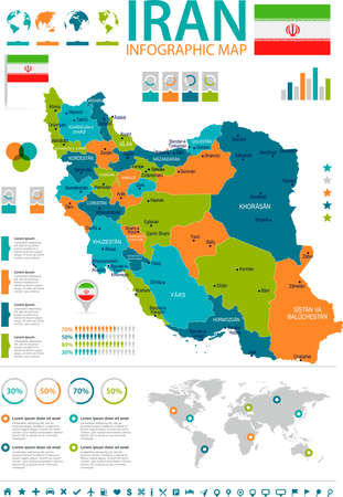 Iran infographic map and flag - High Detailed Vector Illustration