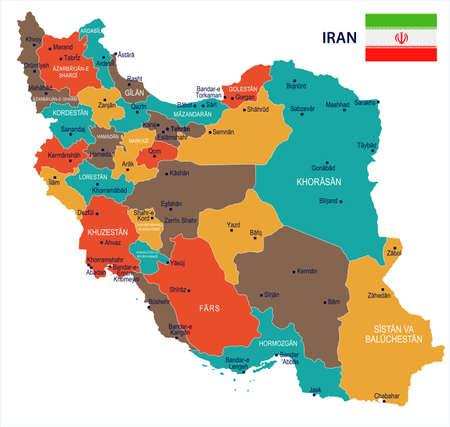 イランの地図と国旗 - 高詳細なベクトル イラスト  イラスト・ベクター素材