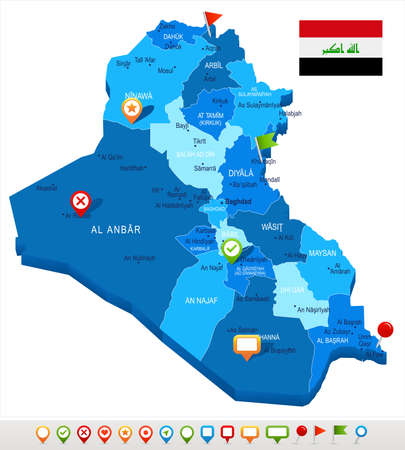 Iraq map and flag - High Detailed Vector Illustration