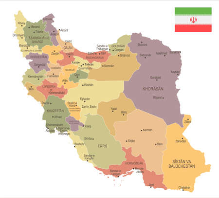 Iran - vintage map and flag.