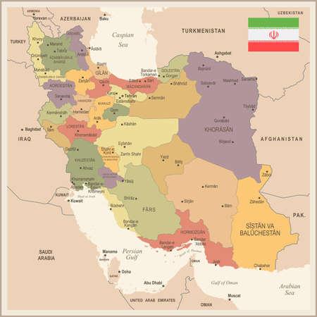 Iran - vintage map and flag - High Detailed Vector Illustration Illustration