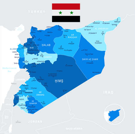 Syria map and flag - High Detailed Vector Illustration
