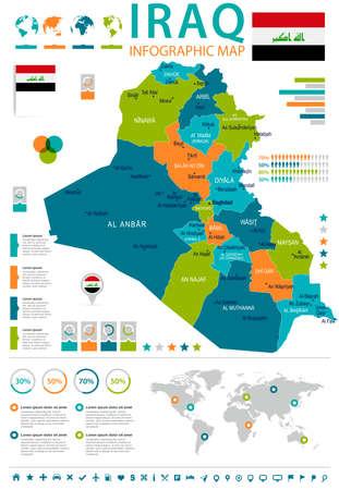 Mapa de infográfico do Iraque e bandeira - ilustração vetorial detalhada alta
