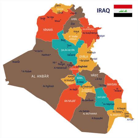 イラクの地図と旗 - 高詳細ベクトルイラスト  イラスト・ベクター素材