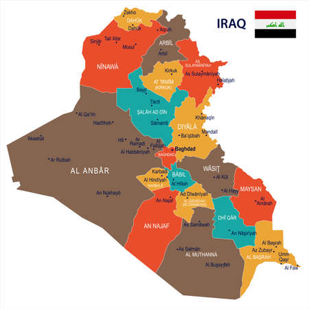 Irak Karte und Flagge - hohe detaillierte Vektor-Illustration Standard-Bild - 91244430