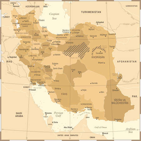 Iran Map - Vintage High Detailed Vector Illustration Illustration