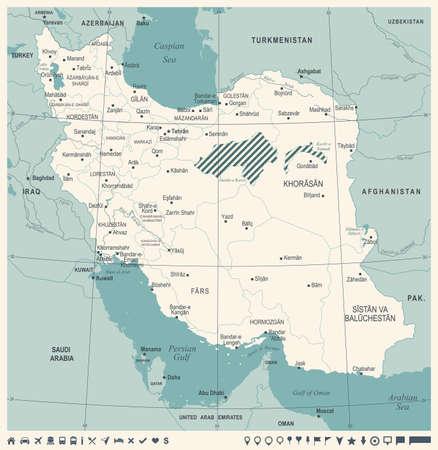 Iran Map -Vintage High Detailed Vector Illustration Illustration