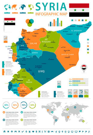 Syria infographic map and flag - High Detailed Vector Illustration Illustration