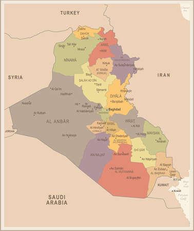 Iraq - vintage map and flag - High Detailed Vector Illustration Illustration