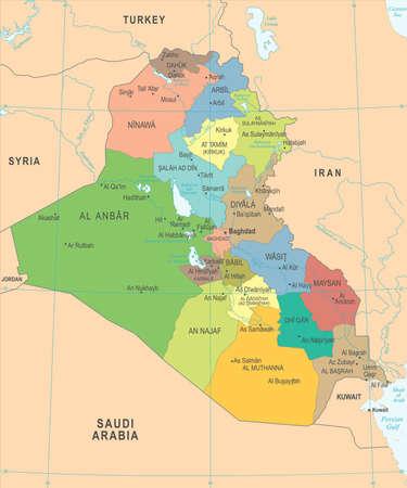 イラク地図 - 高詳細ベクトルイラスト