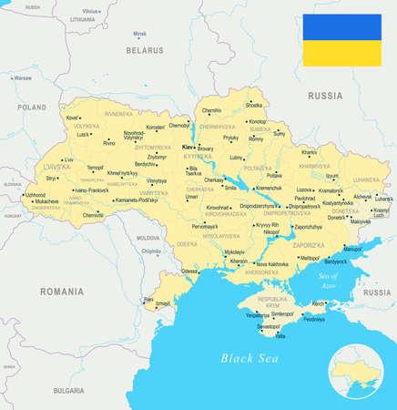 Ukraine map and flag - High Detailed Vector Illustration