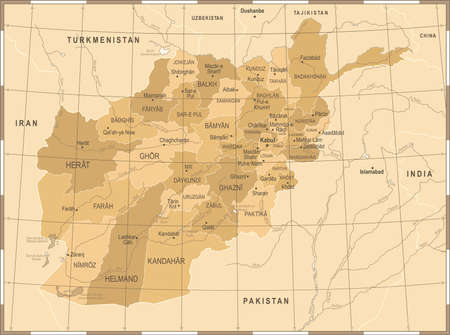 Afghanistan Map - Vintage High Detailed Vector Illustration