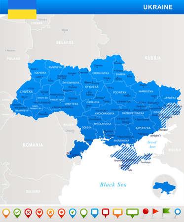 Ukraine detailed map and flag illustration