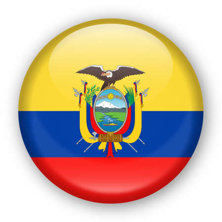 Ecuador flag vector round icon - illustration  イラスト・ベクター素材