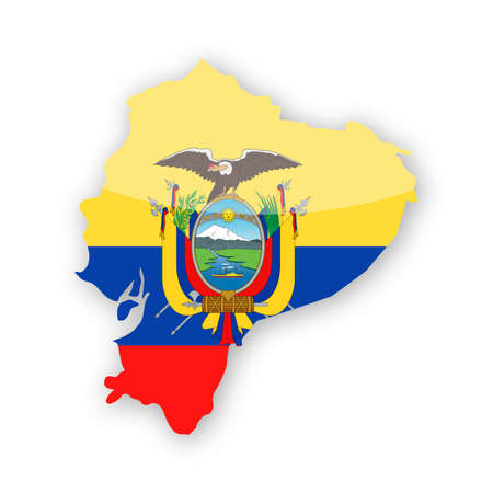 Ecuador Flag Country Contour Vector Icon - Illustration  イラスト・ベクター素材
