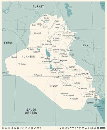 Irak kaart vintage hoog gedetailleerde illustratie Stock Illustratie