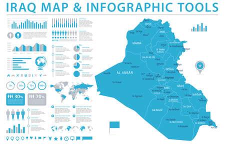 Iraq Map - Detailed Info Graphic Vector Illustration Illustration