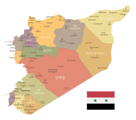 Syria vintage map and flag high detailed illustration