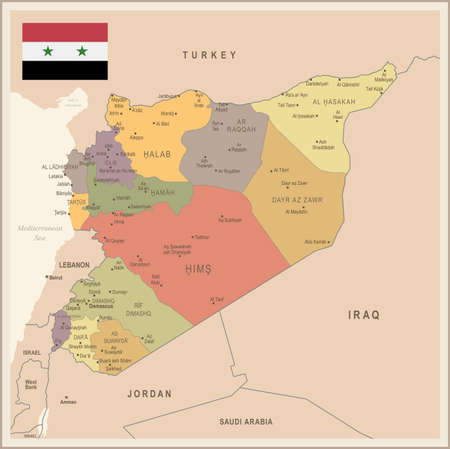 Syria - vintage map and flag - High Detailed Vector Illustration
