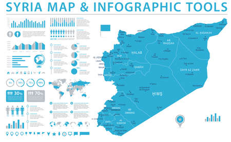 Syria Map - Detailed Info Graphic Vector Illustration Illustration