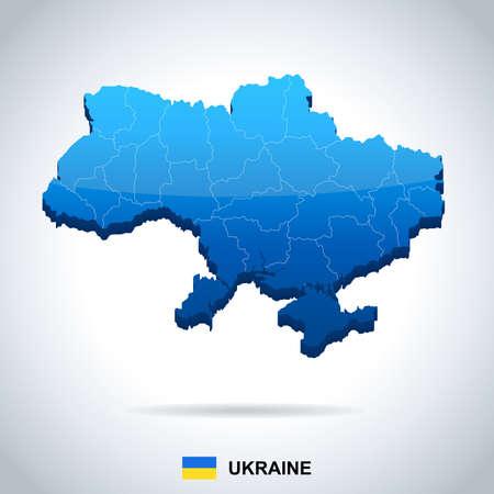 우크라이나지도 및 플래그 - 높은 상세한 벡터 일러스트