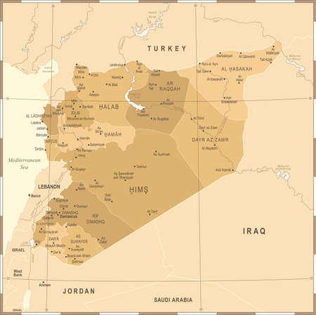 Syria Map - Vintage High Detailed illustration.