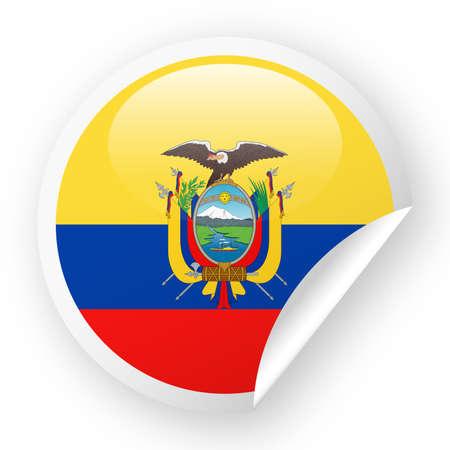 Ecuador Flag Vector Round Corner Paper Icon Illustration  イラスト・ベクター素材
