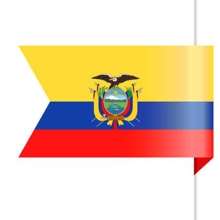 Ecuador Flag Vector Bookmark Icon Illustration