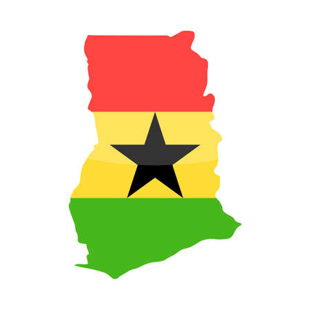 Ghana Flag Country Contour Vector Icon - Illustration