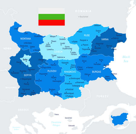 Bulgaria map and flag - High Detailed Vector Illustration
