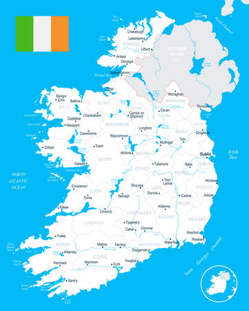 Ireland map and flag - High Detailed Vector Illustration