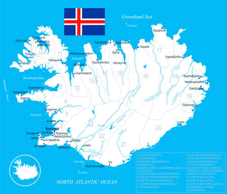 Iceland map and flag.
