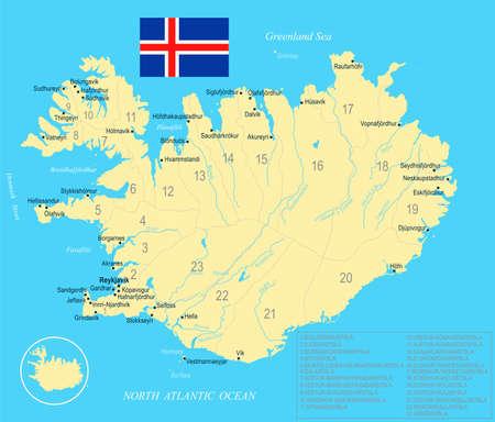Iceland map and flag - High Detailed Vector Illustration Illustration
