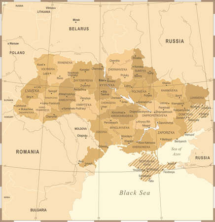 우크라이나지도 - 빈티지 높은 상세한 벡터 일러스트 일러스트