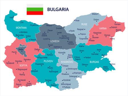De kaart en de vlag van Bulgarije - hoog Gedetailleerde Vectorillustratie