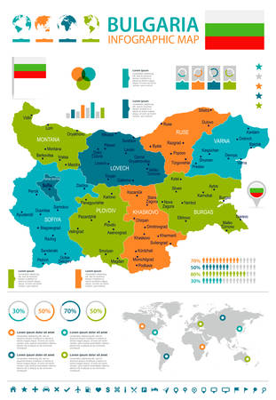 Bulgaria infographic map and flag - High Detailed Vector Illustration