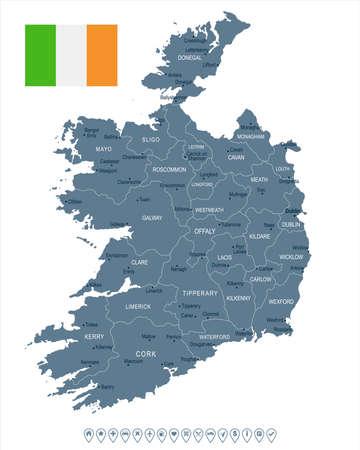 Ierland kaart en vlag - hoog gedetailleerde vectorillustratie Stock Illustratie