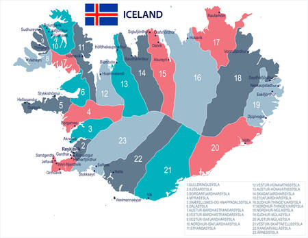 Iceland map and flag - High Detailed Vector Illustration Çizim