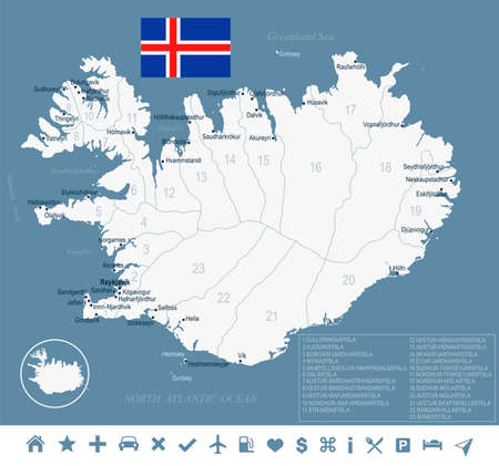 Iceland map and flag - High Detailed Vector Illustration Ilustracja