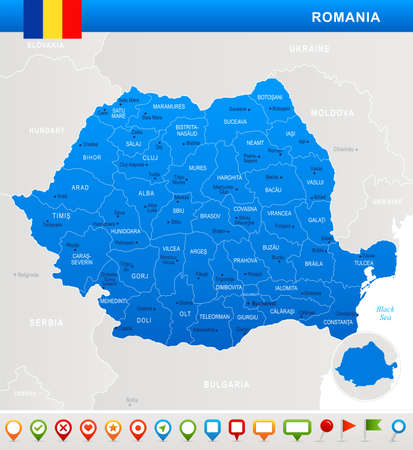 Romania map and flag - highly detailed vector illustration