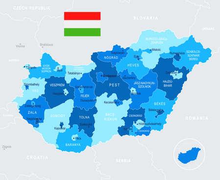 헝가리지도 및 플래그 - 높은 상세한 벡터 일러스트 일러스트
